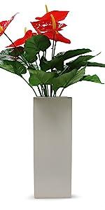 "square block white ceramic vase tall 14"""