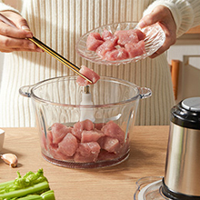 chop onions, slice salad ingredients, meats, mix sauces or puree soups machine