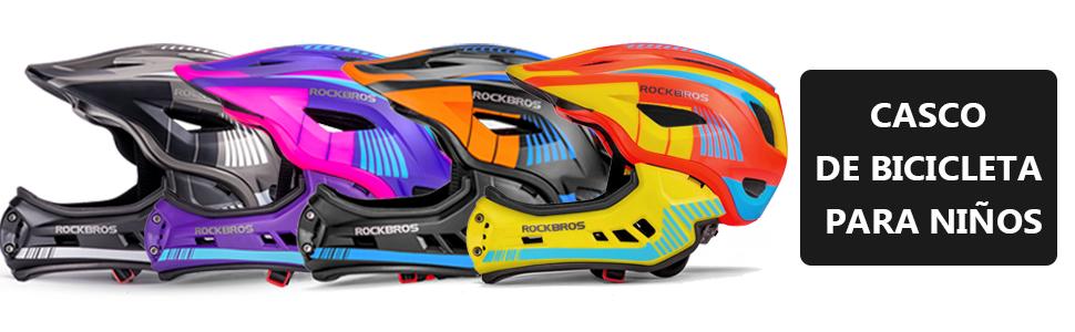 ROCKBROS Casco para Niños para Bicicleta Casco Integral Infantil Desmontable Tamaño 48-58CM EPS PC Integrado a Prueba de Golpes 3 Color: Amazon.es: Deportes y aire libre