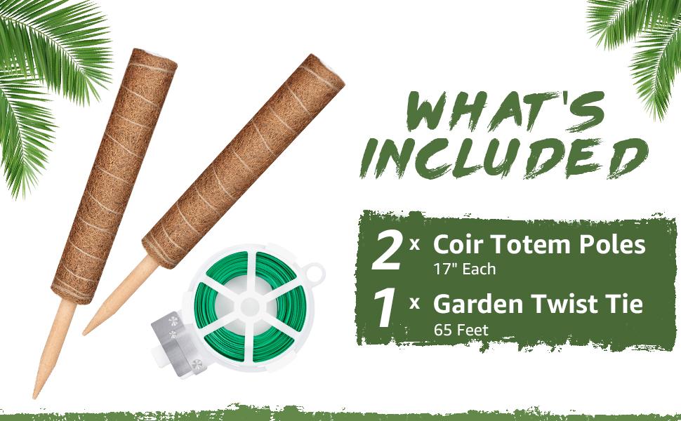 "2 x 17"" Coir Totem Pole 1 x 65 feet Garden Twist Tie"