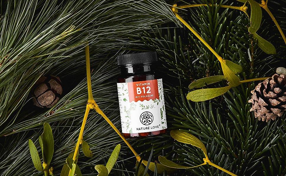 Vitamin B12 Cobalamin Methylcobalamin Folat Folsäure vegan pflanzlich hochdosiert Nature Love