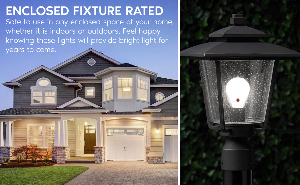 a19 led light bulb standard lamp e26 medium base enclosed fixture rated indoor outdoor dusk to dawn
