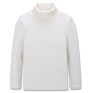 CUNYI Boys Girls Turtleneck Long Sleeve Soft Cotton T-Shirts Solid Color Warm Tee Tops