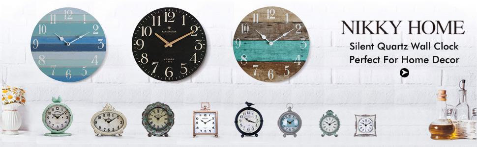 NIKKY HOME British Style Silent Quartz Analog Round Wall Clock 12 x 12 Black N11MC077AP13
