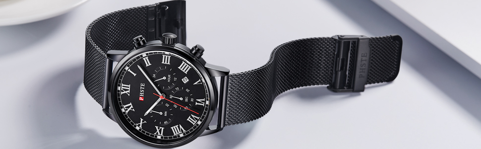 cool mens all black multifunction watch inexpensive on sale stopwatch designer best male wristwatch