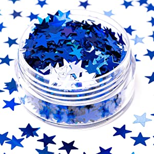 blue star shaped glitter