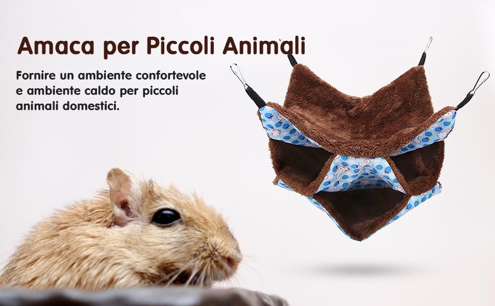 POPETPOP Amaca per criceti Nido di Amaca in Peluche Morbido Morbido Riposo per Giocare a Riposo Appeso Letto per Piccoli Animali caff/è al Criceto