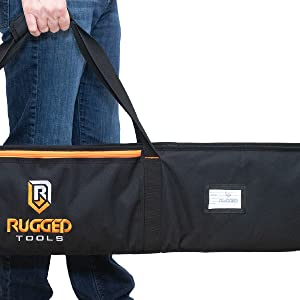 Rugged Tools Circular Saw Guide Rail Track Saw Carrying Bag with ID Slot, lockable zippers