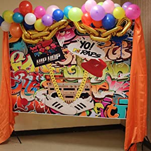 90s theme party backdrop hip hop party decorations photo background