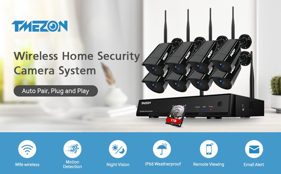 TMEZON 1080P Kit Vidéosurveillance Auto-Pair WiFi NVR 8CH Enregistreur IP Caméra de Surveillance 2.0 MP Métal Vision Nocturne Surveiller à Distance ...