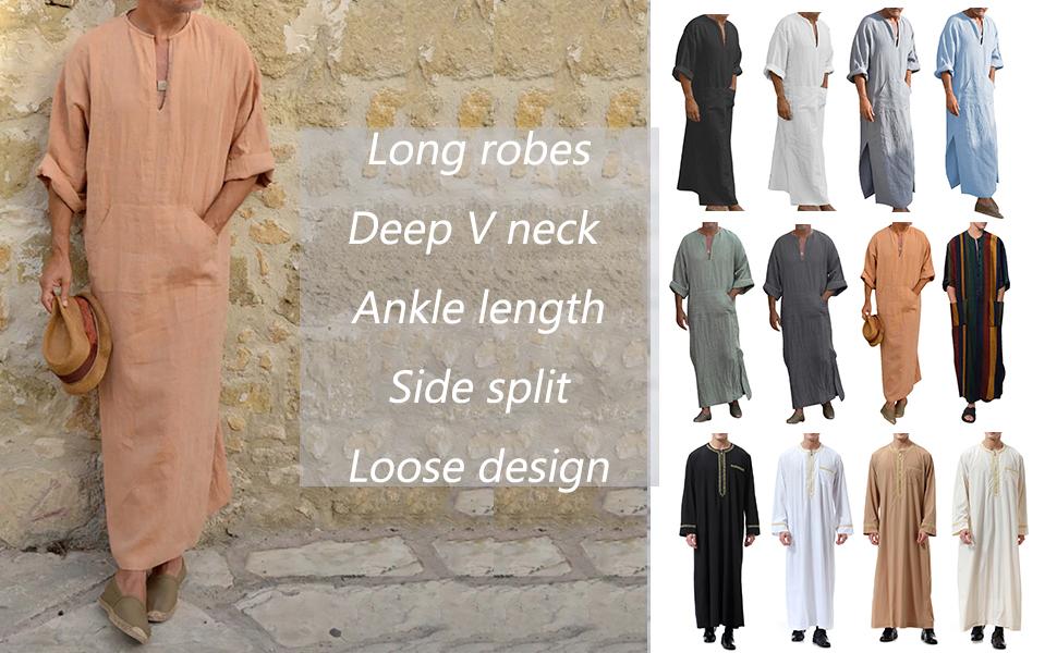 Men's V-Neck Linen Robe Short Sleeve Kaftan Thobe Long Gown Casual Shirt for Beach Summer