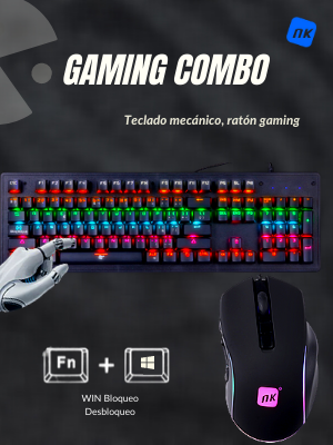 NK Onyx Gaming Pack - Teclado Mecánico RGB para Gamers PC + ...