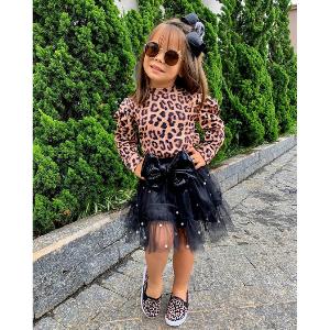 Leopard Top Black Mesh Skirt Set
