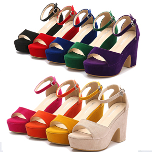 Women's Platforms Wedges Sandals Suede Open Toe Ankle Strap Block Chunky High Heels Pumps Shoes