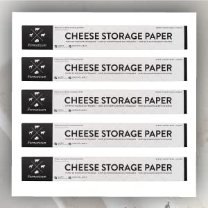 Cheese storage paper logo stacked one on top of the other 5 times.