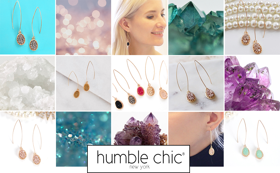 Humble Chic Simulated Druzy Needle Drops - Gold-Tone Threader Upside-Down Hoop Dangle Earrings Women