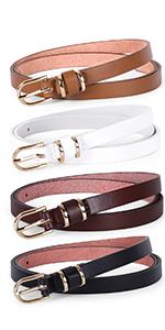 women skinny leather belt set of 4