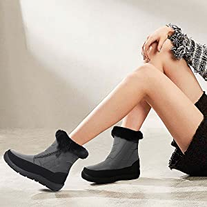 Women's Snow Boots Outdoor Warm Mid-Calf Booties Anti-Skid Water Resistant Winter Shoes
