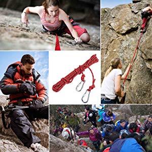 ENJOHOS Cuerda Auxiliar de Escalada en Poliéster/NylonCarga 900kg para Rescate de Montañismo