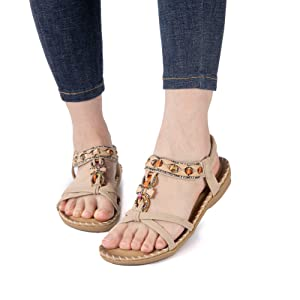 women sandals lady sandals for women casual summer shoes dressy flats elastic ankle straps sandals