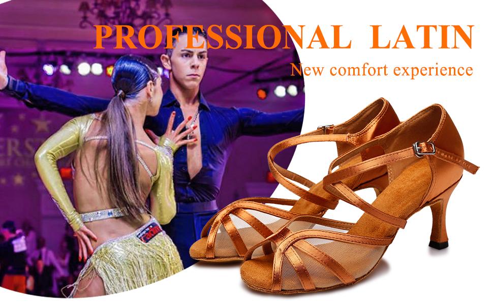 SWDZM Womens Dance Shoes Latin Salsa Performance Ballroom Dance Shoes Model-YCD6