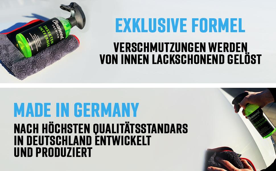 Cleaneed Premium Insektenentferner Made In Germany Extra Stark Rückstandsfrei Garantiert Lackverträglich Einfacher Auftrag 500ml Auto