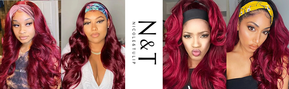 burgundy wigs for black women red hair wigs for women dark red wig head band wigs