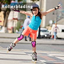 kids youth rollerblading knee pads and elbow pads