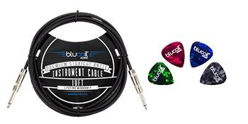 Blucoil Guitar Amp Instrument Cable & Guitar Picks