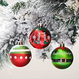 Victors Workshop 24pcs 6cm Christmas Baubles Delightful Elf Red Green and White Shatterproof Christmas Ball Ornaments Decoration for Christmas Tree Decor