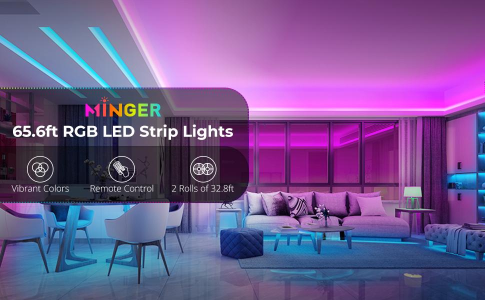 65.6ft led strip lights 20m remote led light strip for home room kitchen countertop RGB led lights