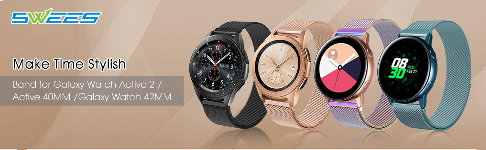 QusFy 20mm Metal band for Galaxy watch active 2 & acitve 40mm & galaxy watch 42mm