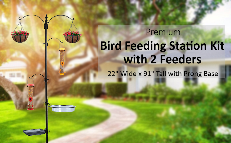 Bird Feeding Station with 2 Bird Feeders