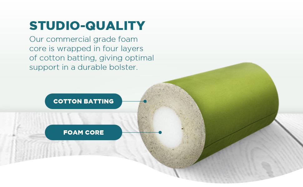 bean products yoga bolster studio quality construction foam core cotton batting