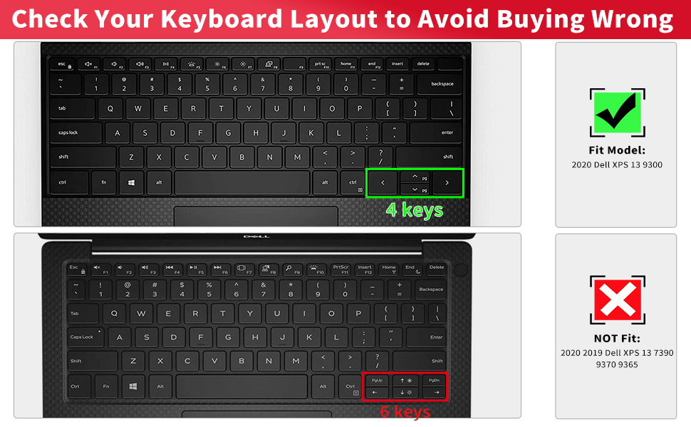 Ultra Thin Keyboard Cover for 2020 Dell New XPS 13 9300