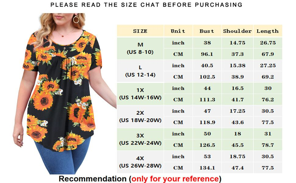Women's Plus Size Long Sleeve Shirt Floral Blouses Tunic Tops M-3XL