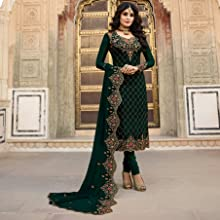 green color salwar suit embroidered  with heavy dupatta faux georgette  semi stitched party wear