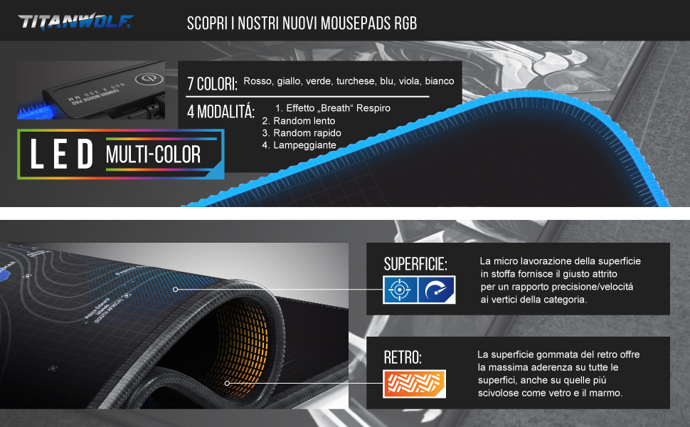 Titanwolf RGB Gaming Mauspad LED Multi 7 LED Farben Effektmodi Unterseite abwaschbar Weltkarte blau