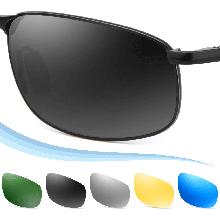 FEIDU Polarized Sport Mens Sunglasses HD Lens Metal Silver Frame Driving Shades