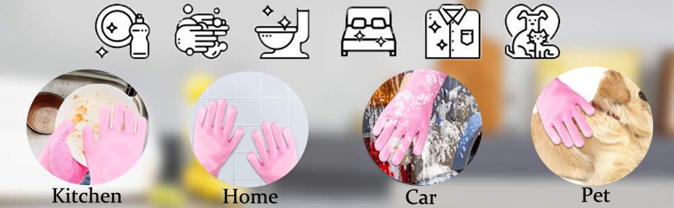 Silicone Dishwashing Brush Magic Gloves