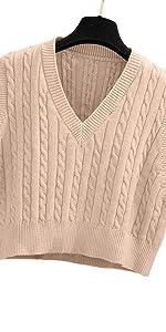Lailezou Women's V-Neck Knit Sweater Vest Preppy Style Sleeveless Crop Knit Vest