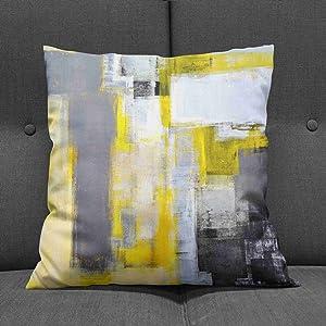 yellow throw pillow case