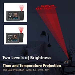 Adjustable Brightness Projected Time & Dual Alarm Clock