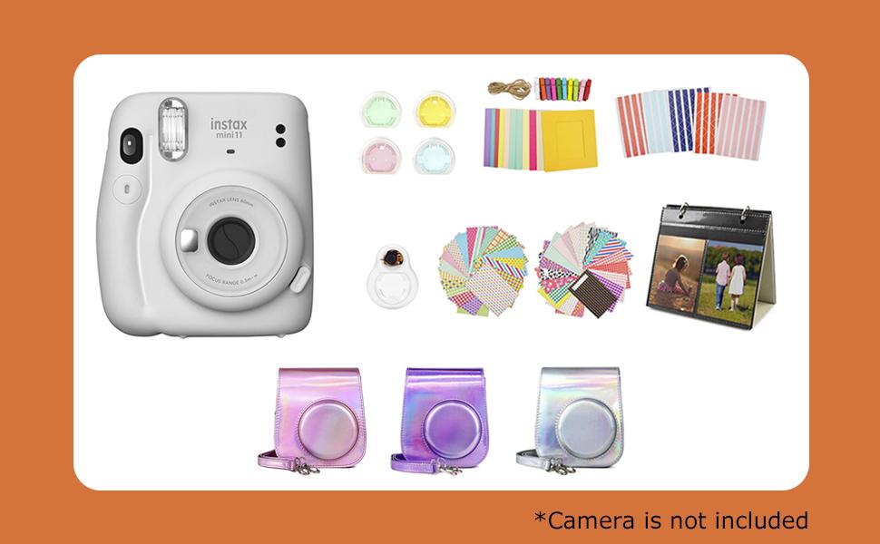 Muziri Kinokoo Mini 11 Schutzhülle Für Fujifilm Instax Mini 11 Schutzhülle Mit 8 Nützlichen Zubehör Kamerataschen 4 Farben Filterobjektiv Und Selfie Objektiv Silberfarben Elektronik