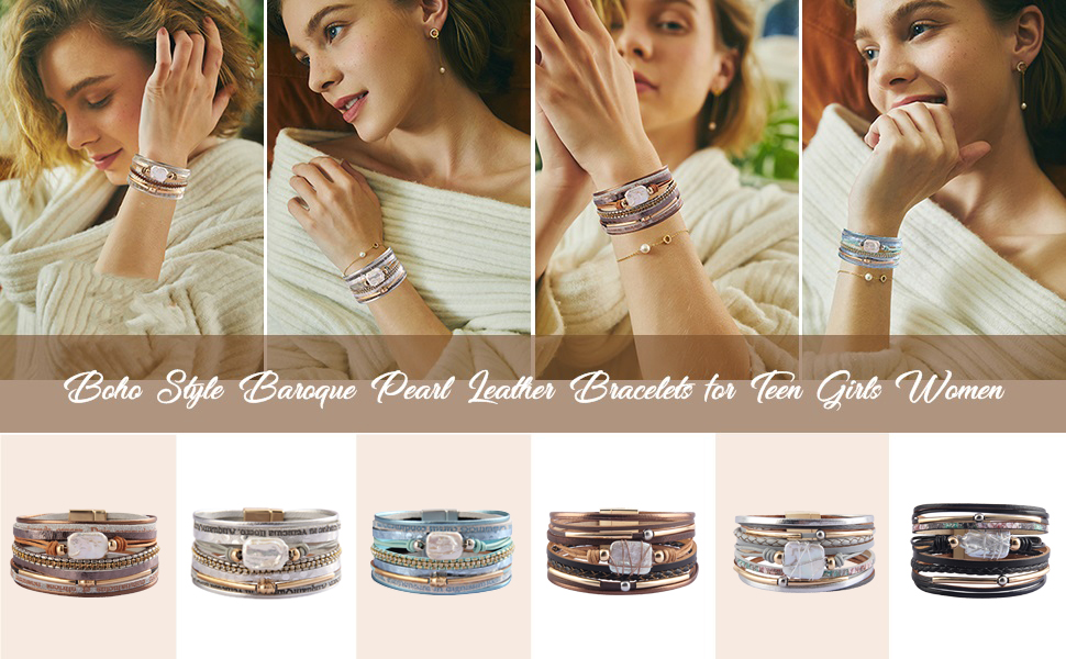 baroque pearl leather cuffs