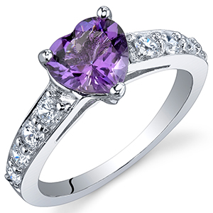 Peora Amethyst Heart Promise Ring in Sterling Silver, 1 Carat, Sizes 5 to 9