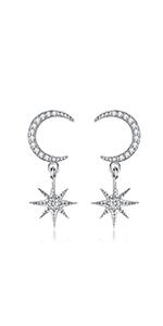 Moon dangle earrings sterling silver