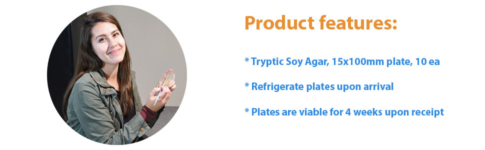 23ml Fill Without Plate Label, Orientation Tabs, and Logo TSA Order by The Package of 10 15x100mm Plate by Hardy Diagnostics Tryptic Soy Agar