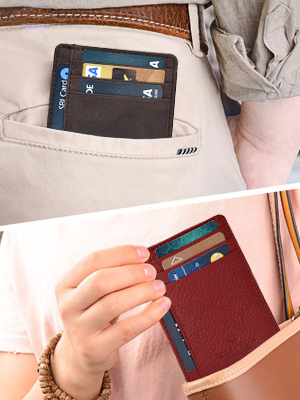 Genuine Leather RFID Blocking Slim Front Pocket wallet Money Clip Wallet Credit Card Holder Case