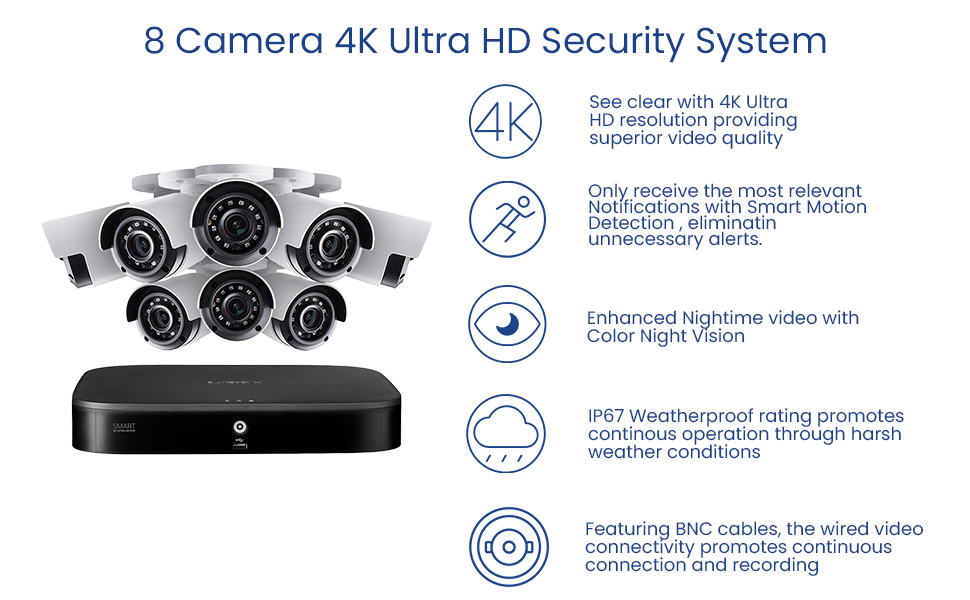 4K resolution, Motion Detection, Color Night Vision, IP67 Weatherproof, Wired Security System